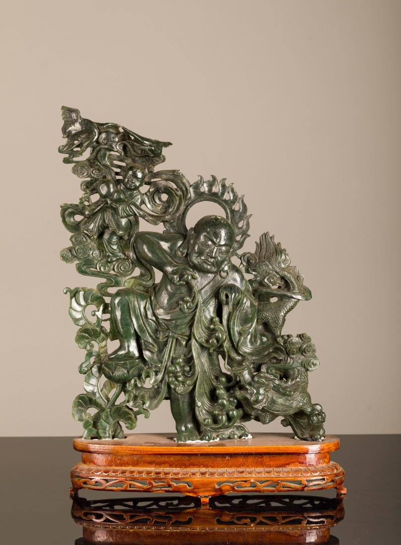 19th Antique Spinach Jade Luohan