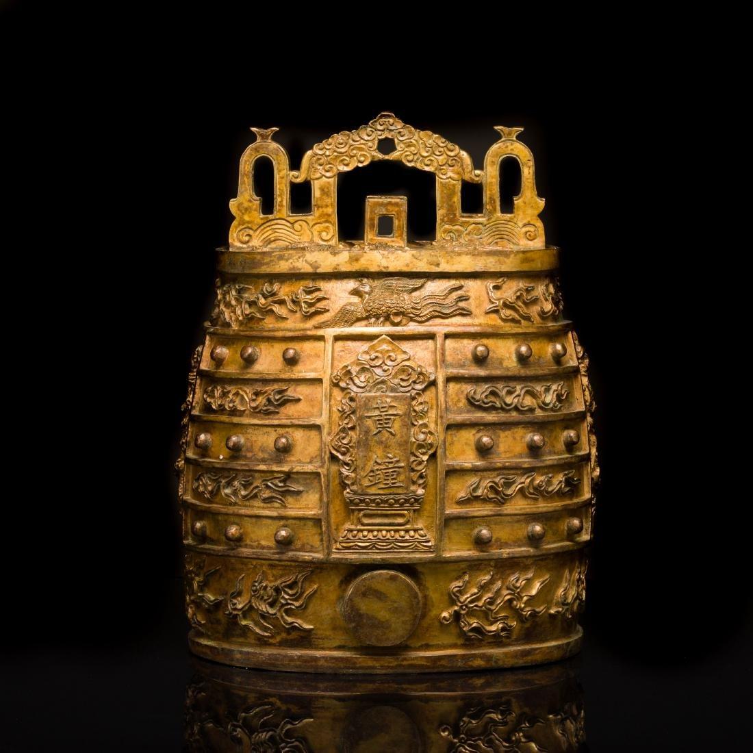 18th Antique Large Cast Gilt Bell