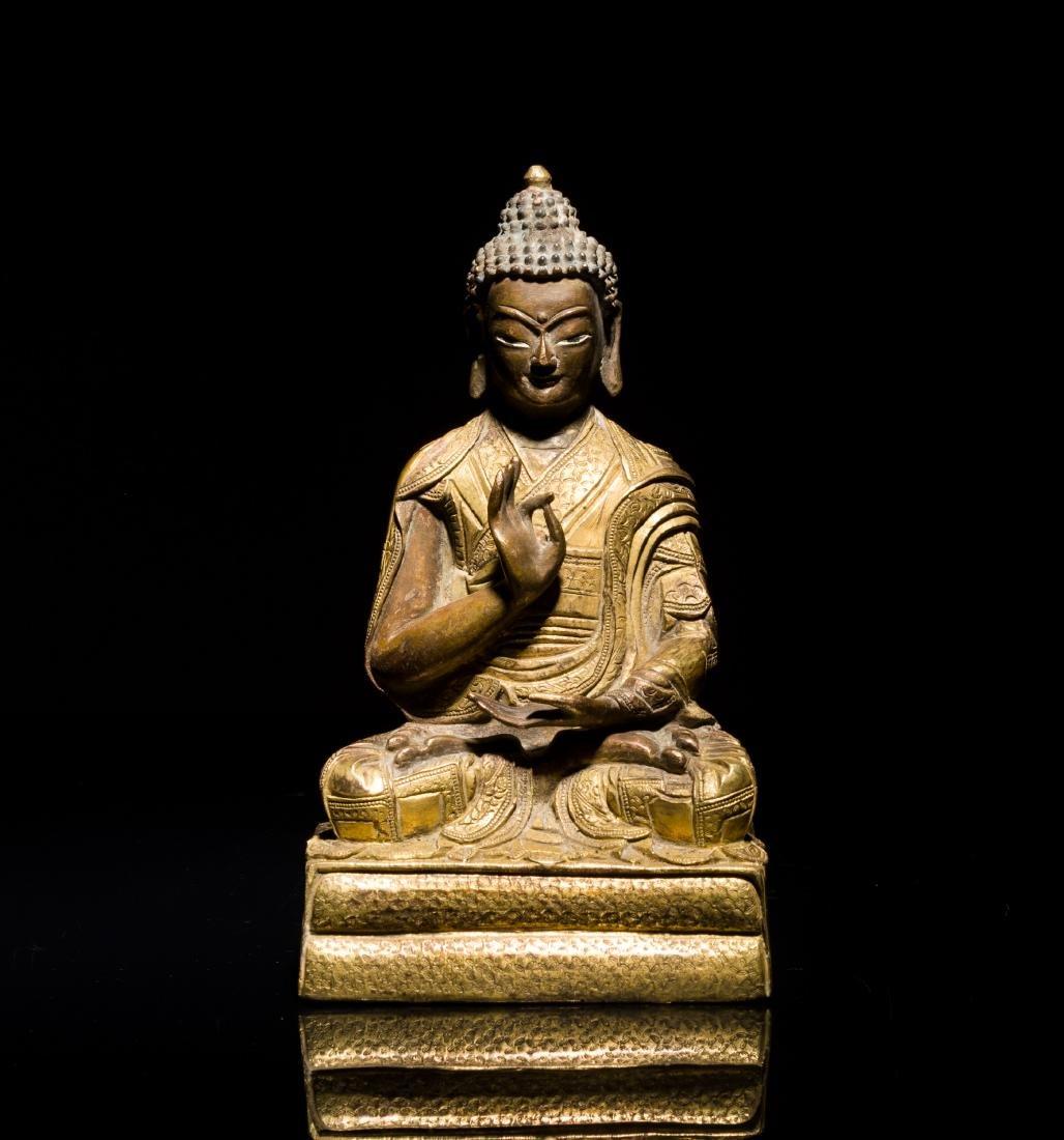 19th Antique Gilt Sino-tibetan Buddha
