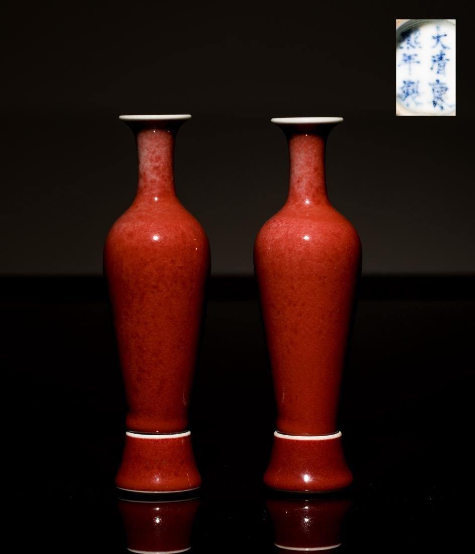 18th Antique Pair Copper-Red Porcelain Vases
