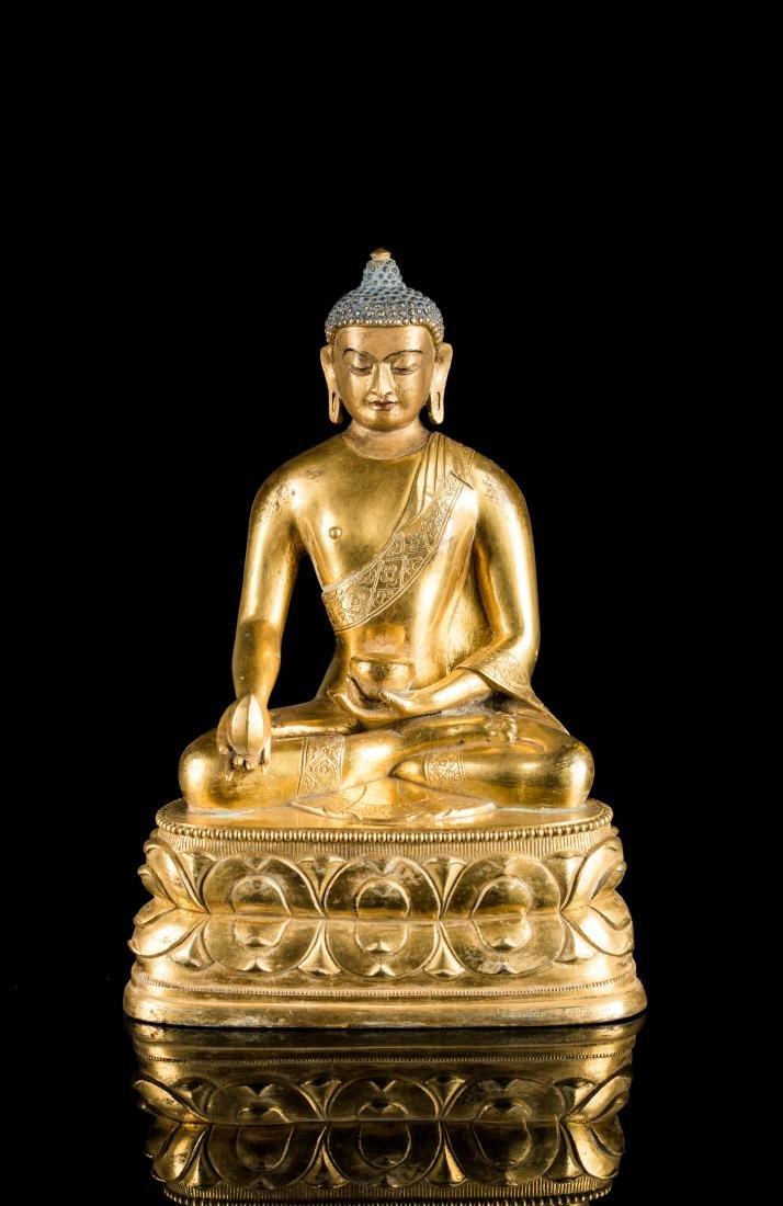 18th Antique Gilt Medicine Buddha