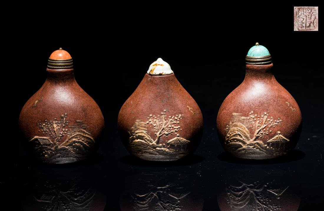 19th Antique Group Yixingzisha Snuff Bottles