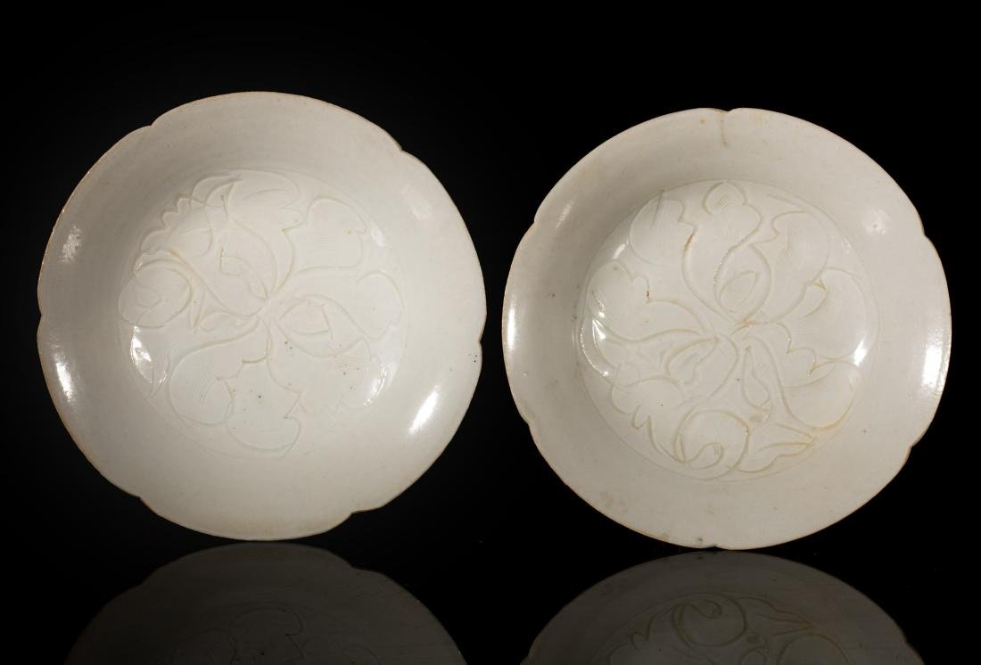 Song Antique Pair 'Yingqing' Lobed Saucer Dishes
