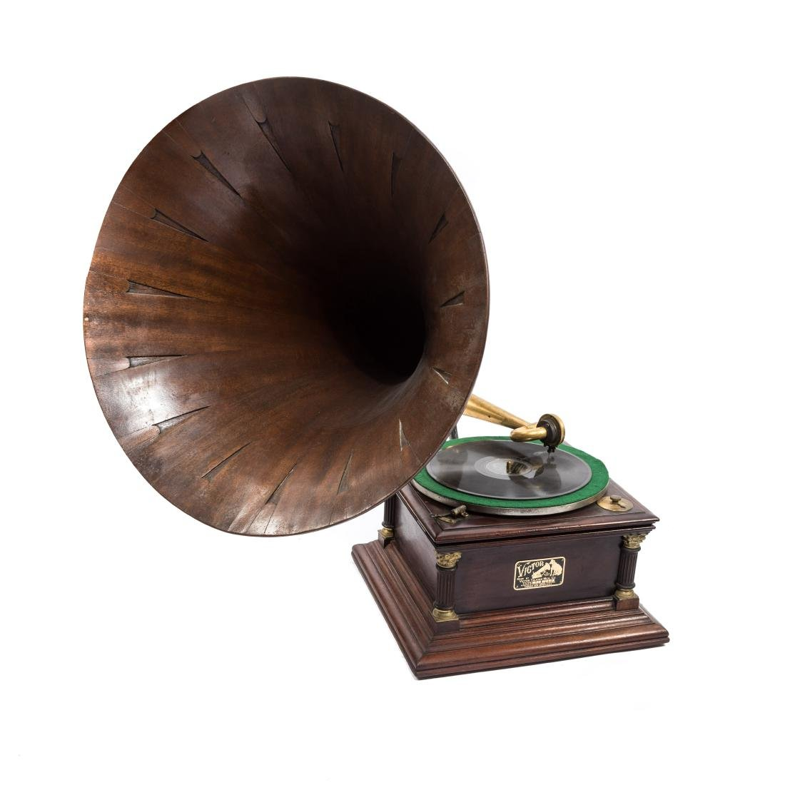 Antique Early Victor Pre Dog Phonograph and Oak Horn