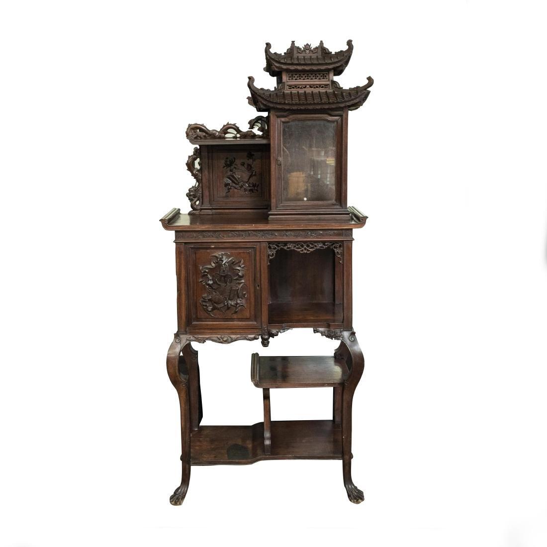 19th Antique Vietnam Huali Wood Imperial Buddhist Niche