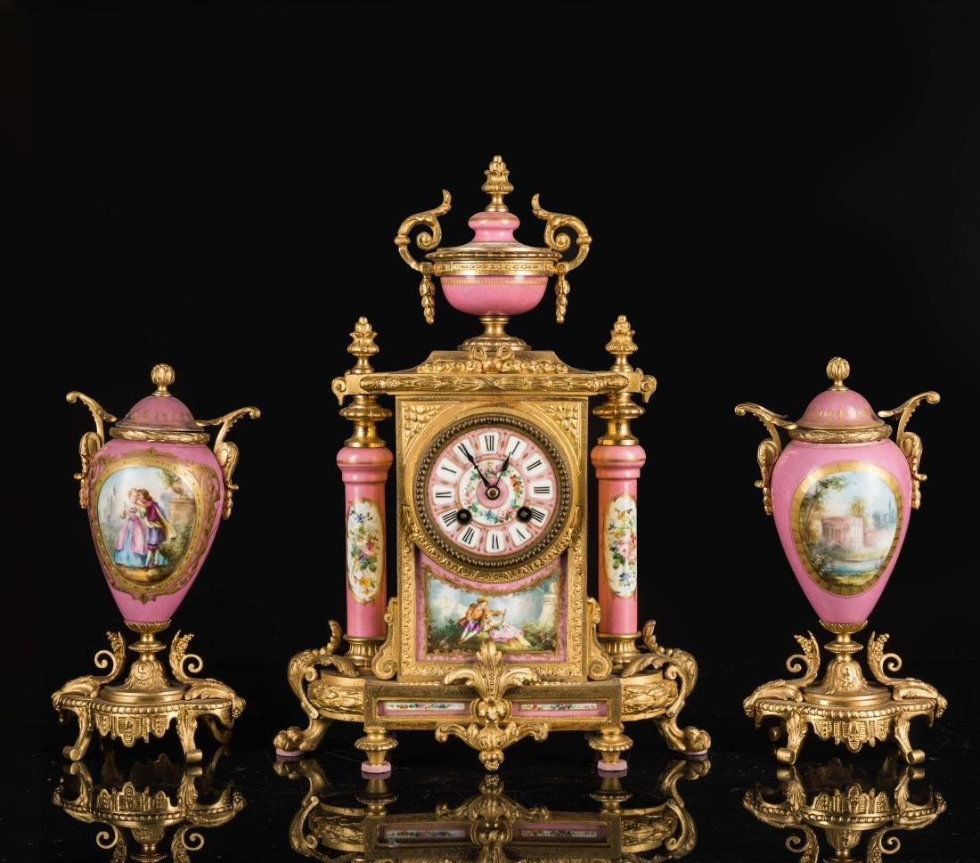 19th Antique Clock and Garniture