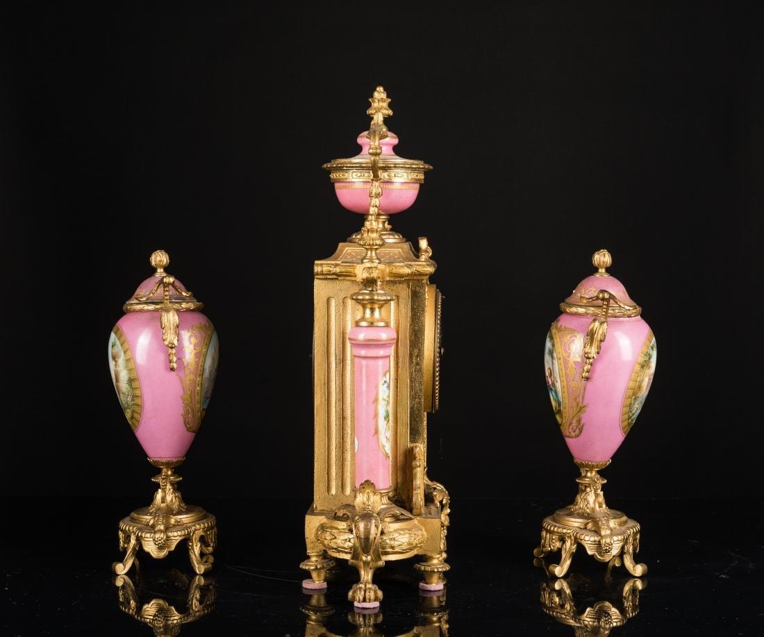 19th Antique Clock and Garniture - 2