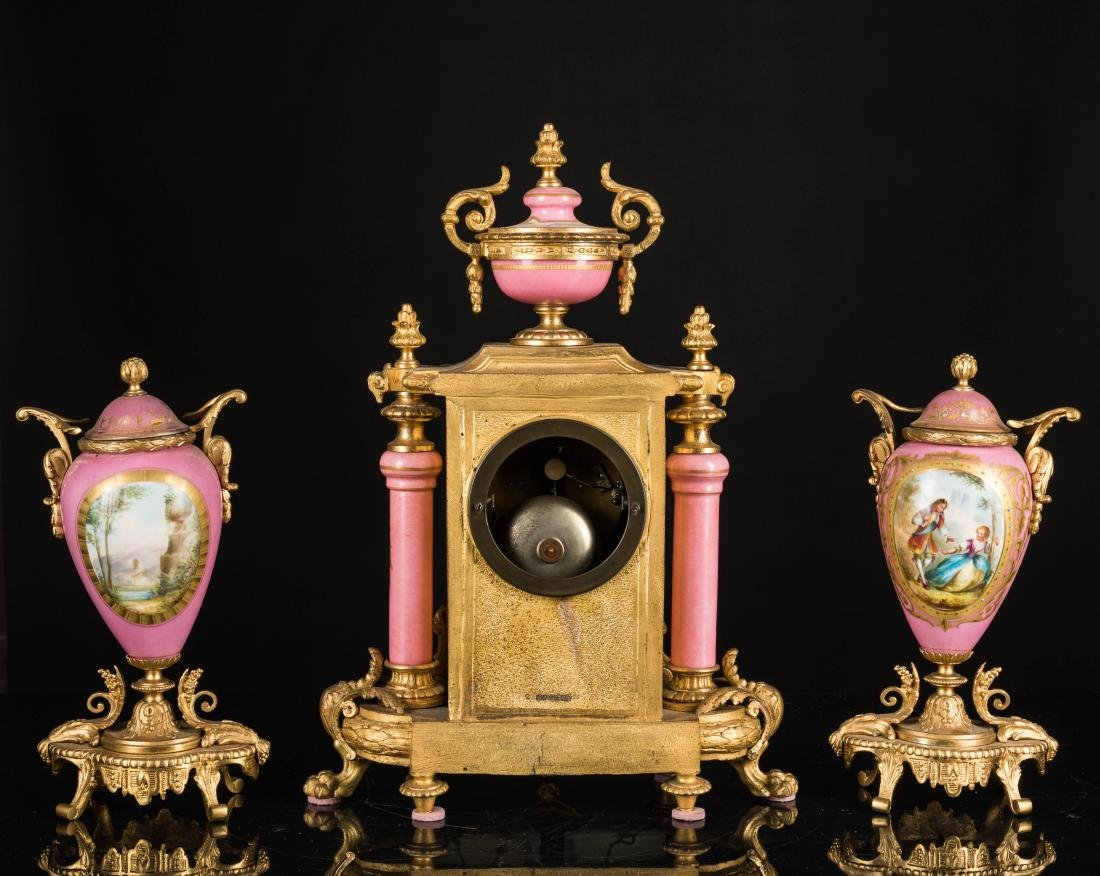 19th Antique Clock and Garniture - 3