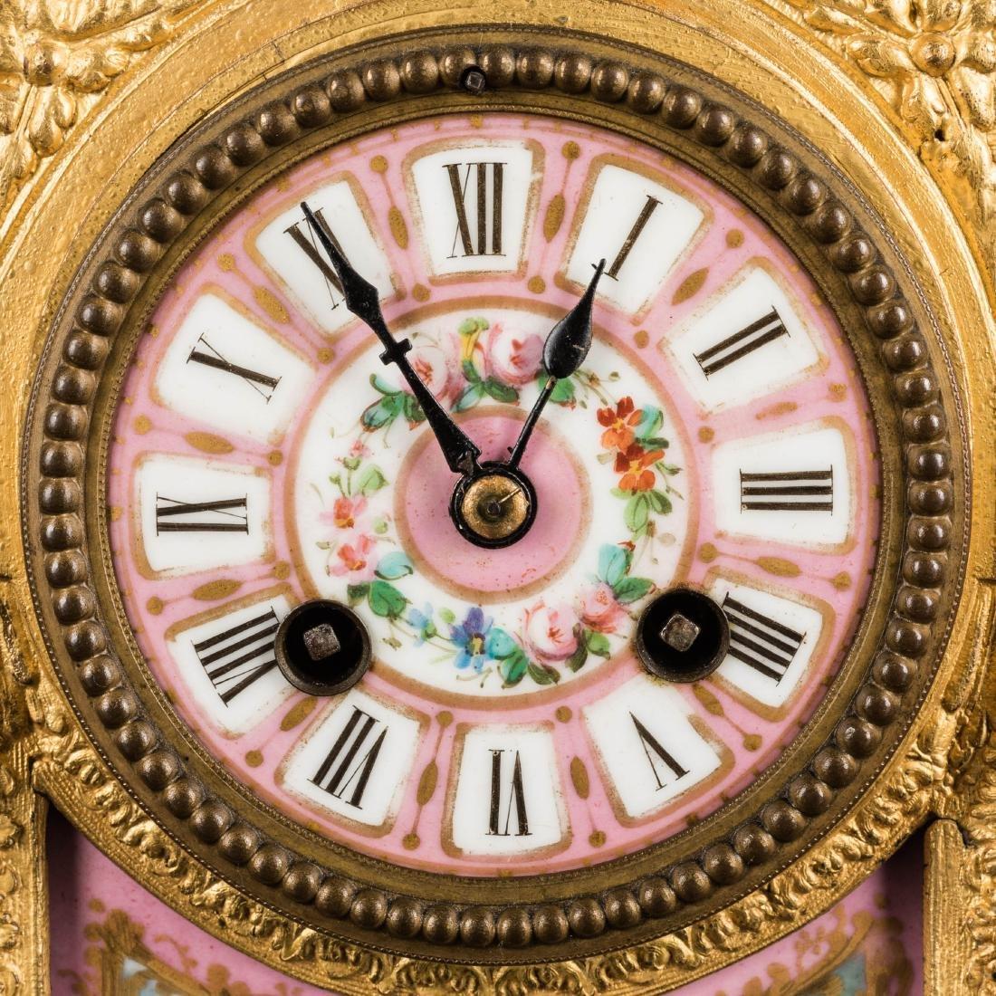 19th Antique Clock and Garniture - 4