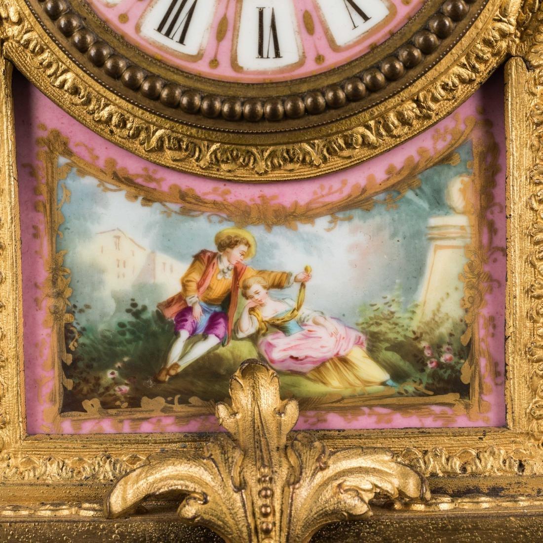 19th Antique Clock and Garniture - 5