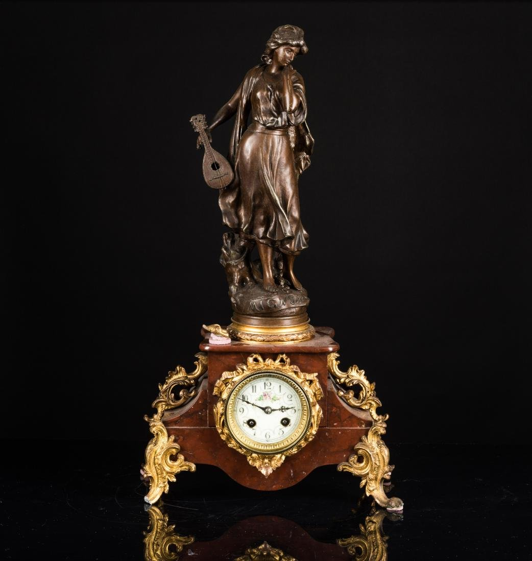 19th Antique Gilt Metal Clock with Bronze Figure