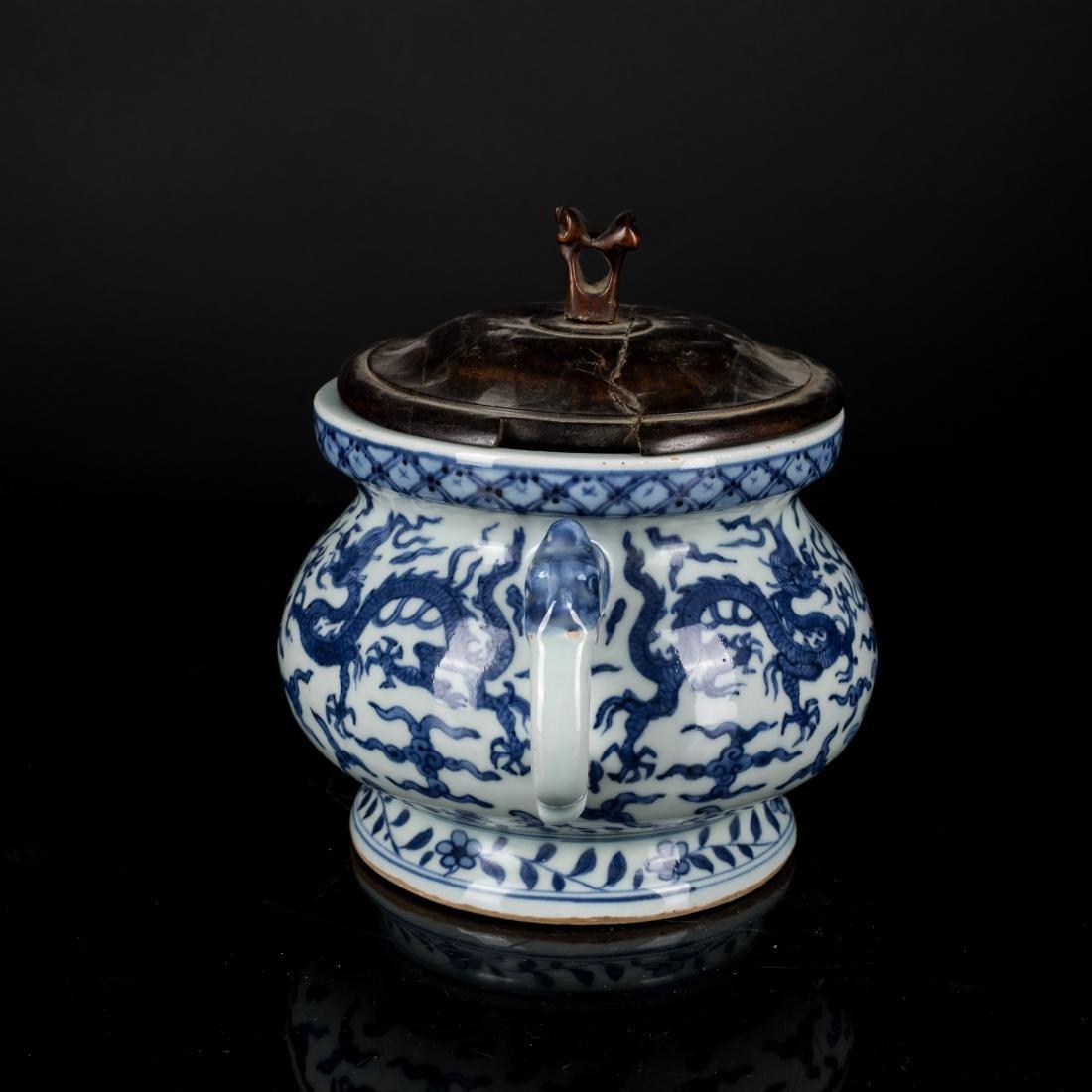 Jiajing Mark Antique Blue and White Censer - 2