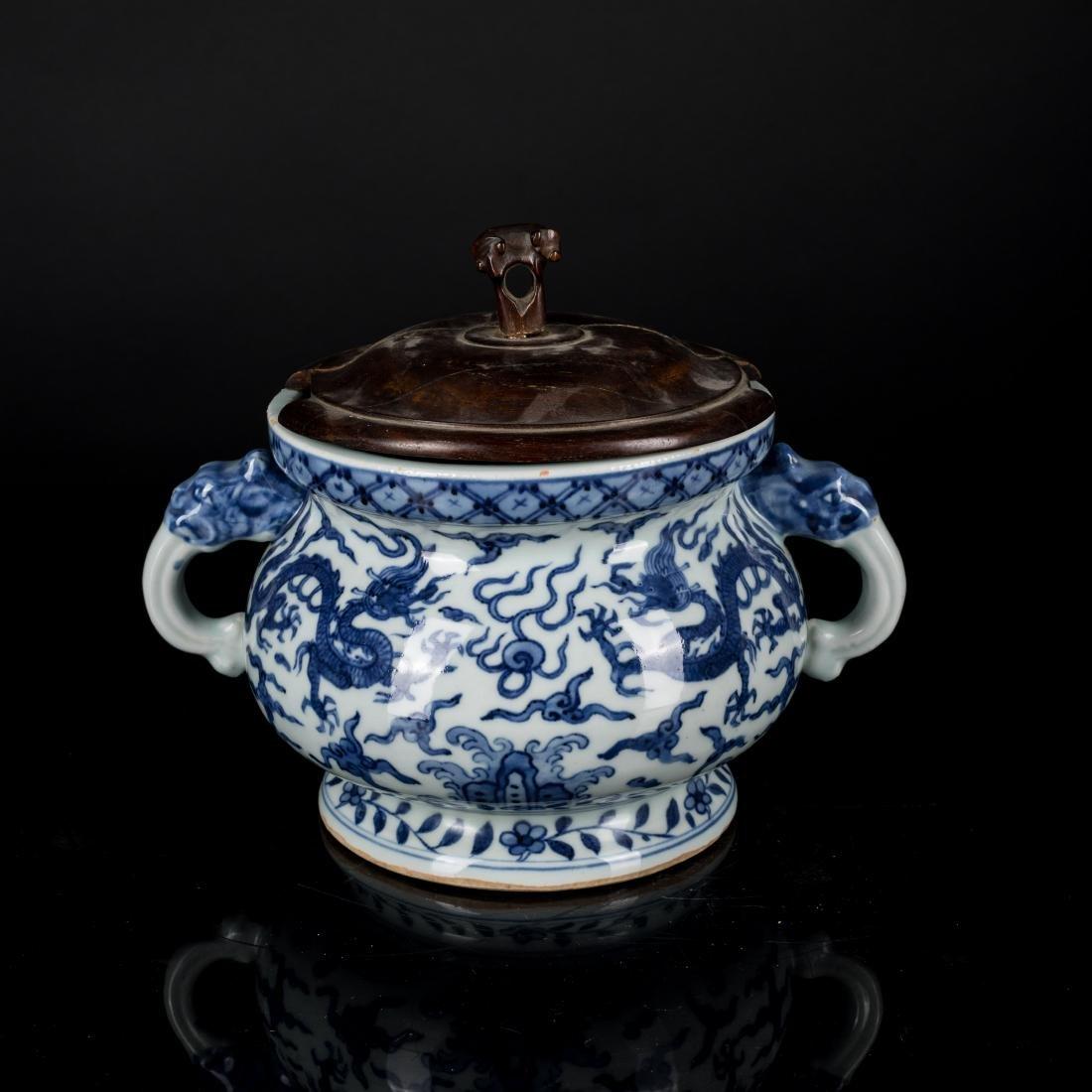 Jiajing Mark Antique Blue and White Censer - 3