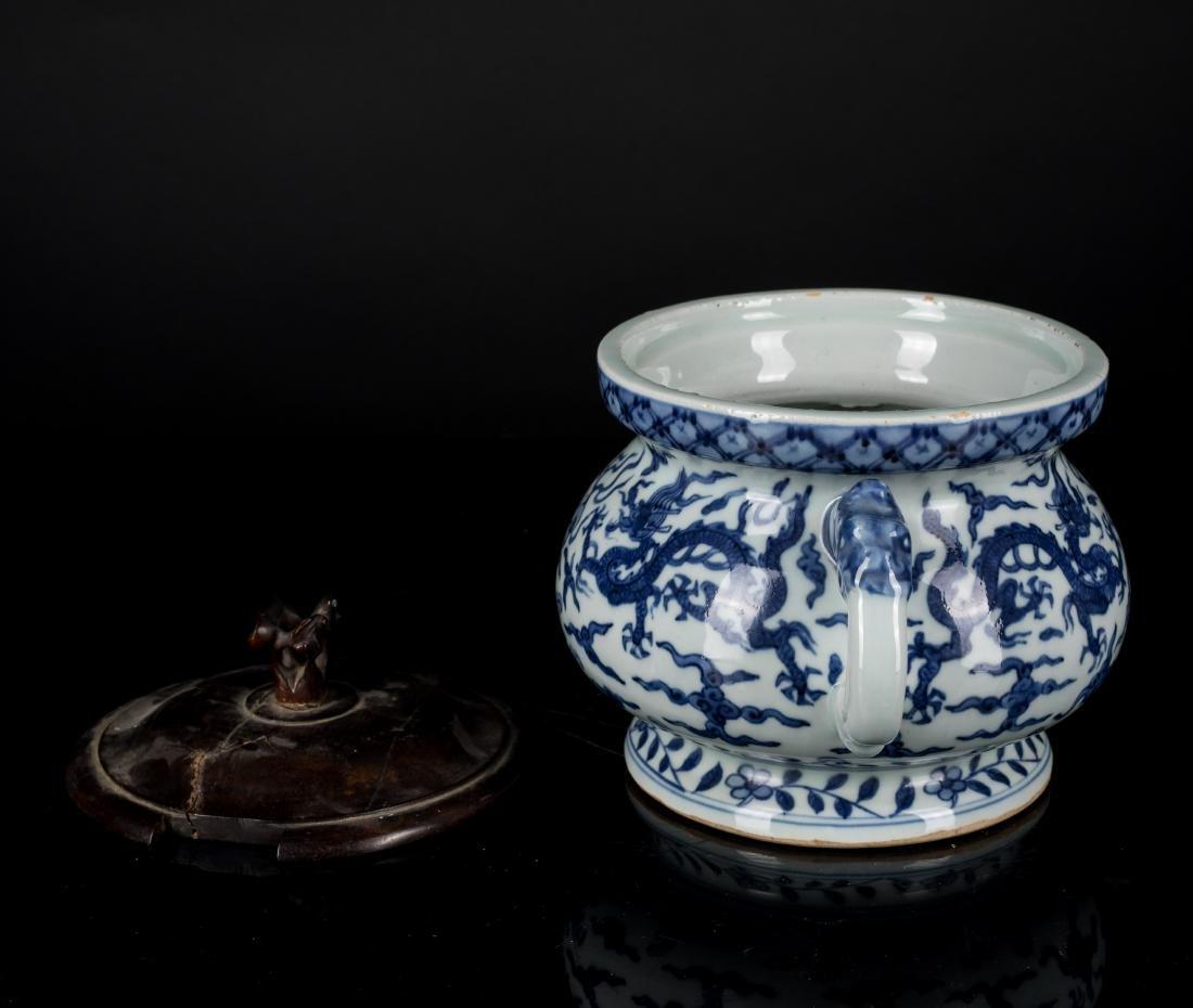 Jiajing Mark Antique Blue and White Censer - 4