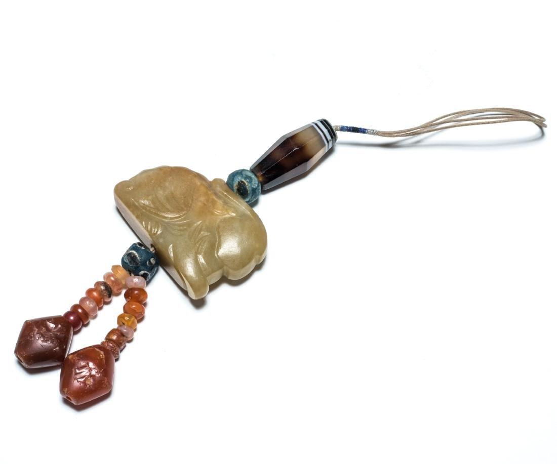 18th Antique Carved Jade Pendant - 2