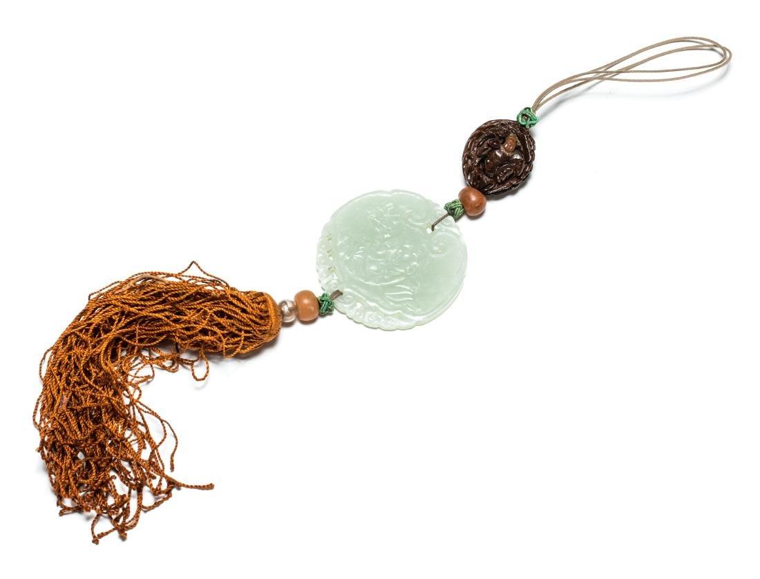 19th Antique Carved Jade Pendant