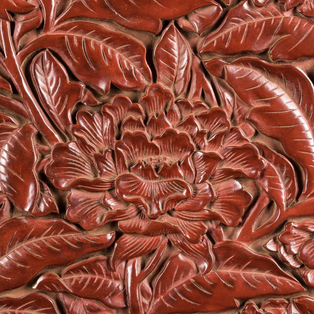 18th Antique Carved Cinnabar Plate - 7