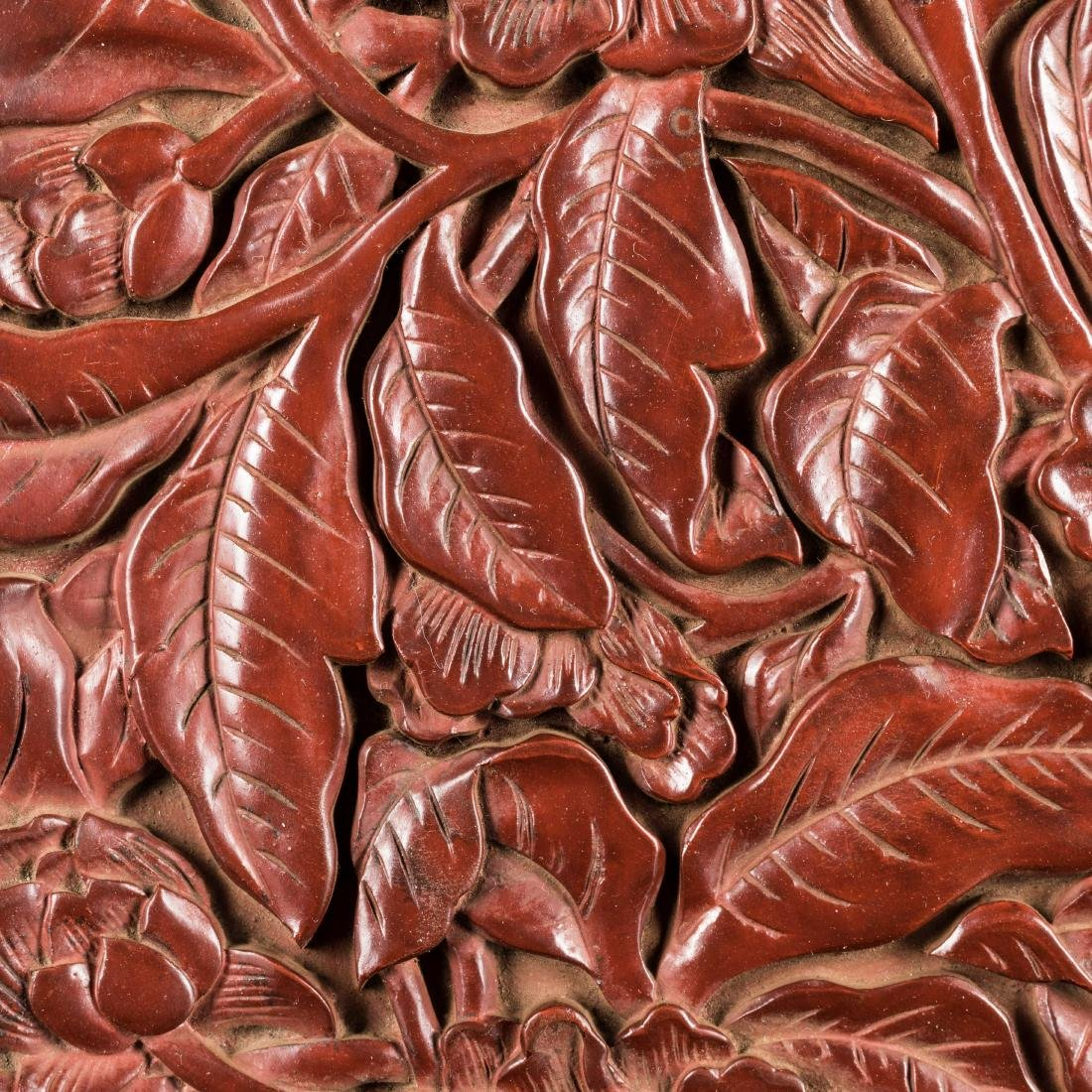 18th Antique Carved Cinnabar Plate - 9