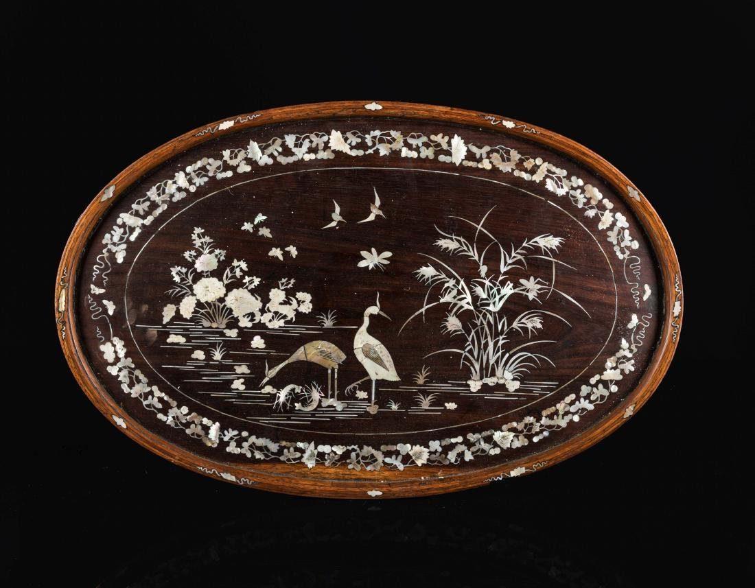 19th Antique Wood Tray Inlaid with Shells