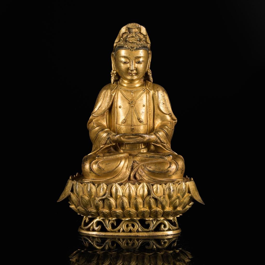 19th Style Gilt Brone Buddha