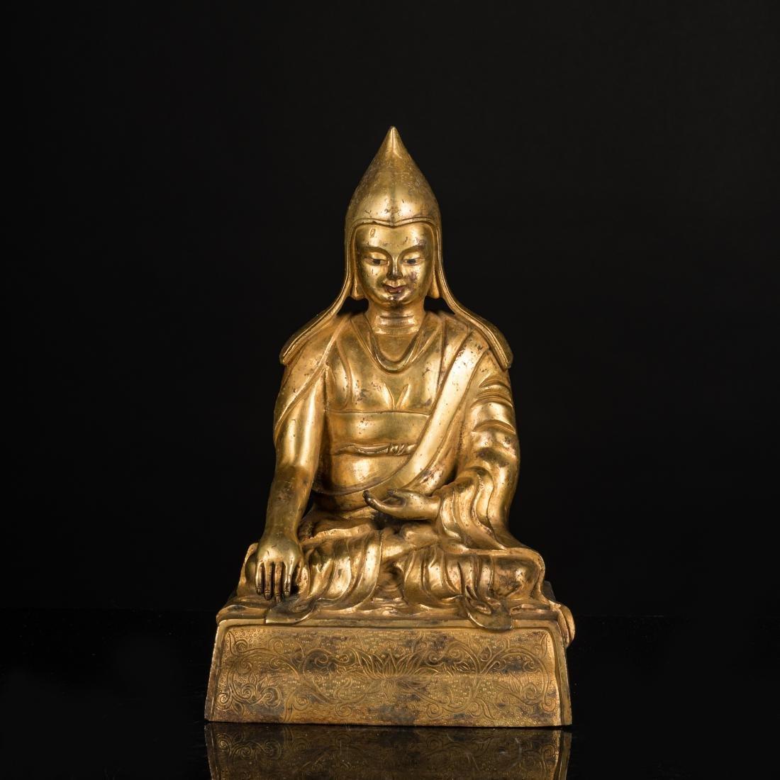 19th Antique Gilt Bronze Lama