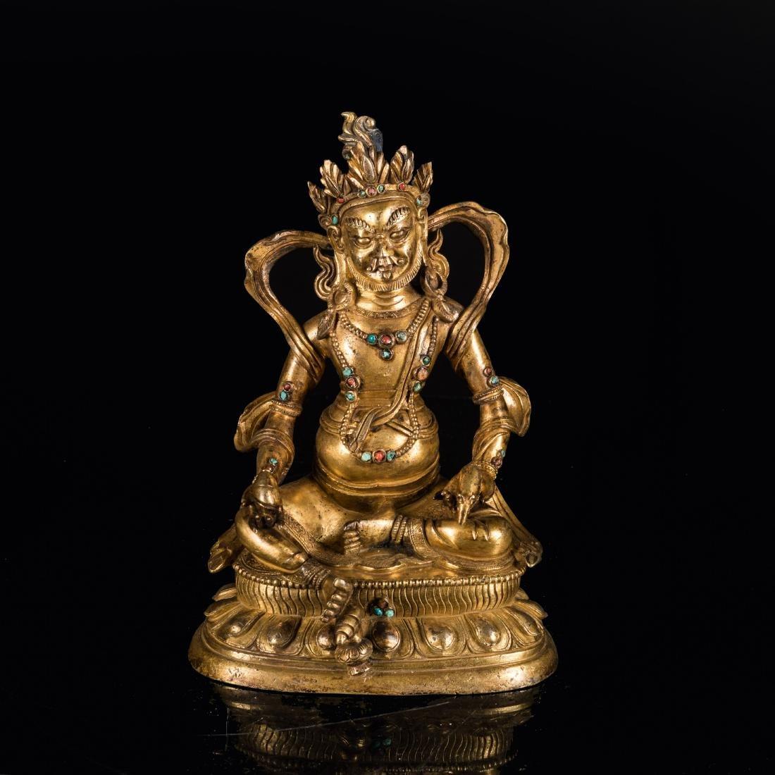 19th Antique Gilt Bronze God of Wealth