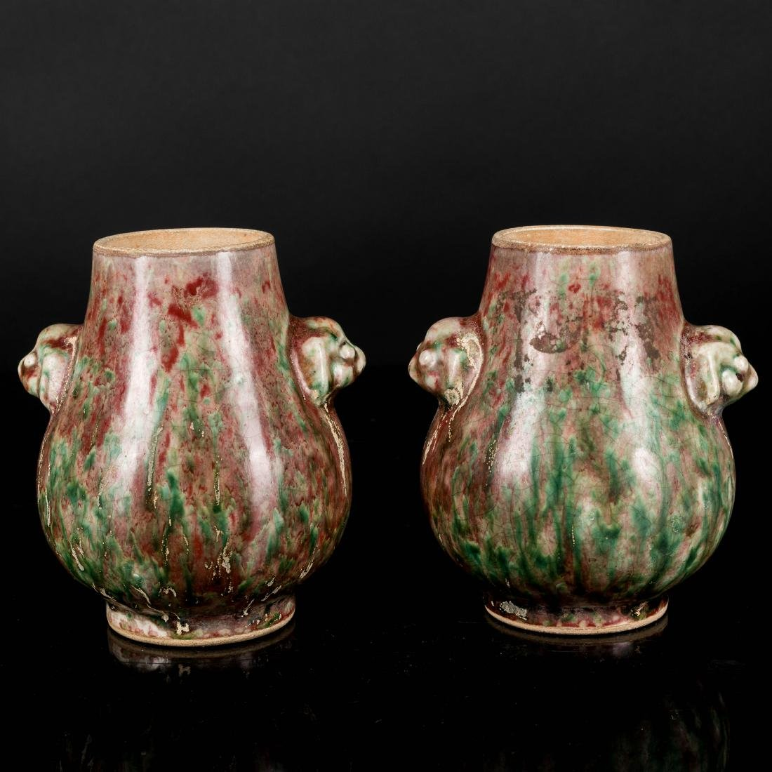 18th Antique Kangxi Period Copper Red Vases