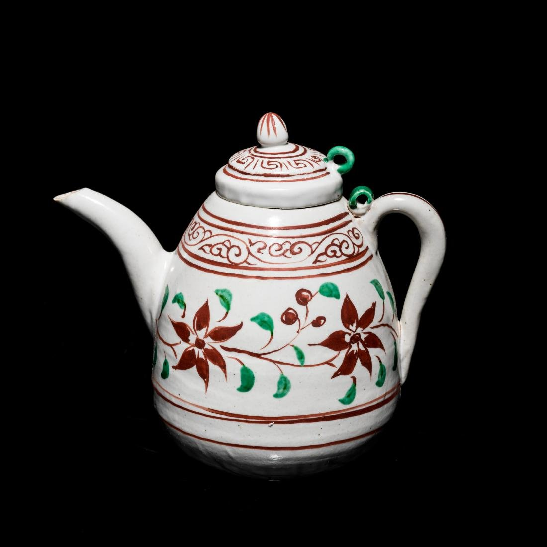 Ming Antique Green & Red Glazed Tea Pot