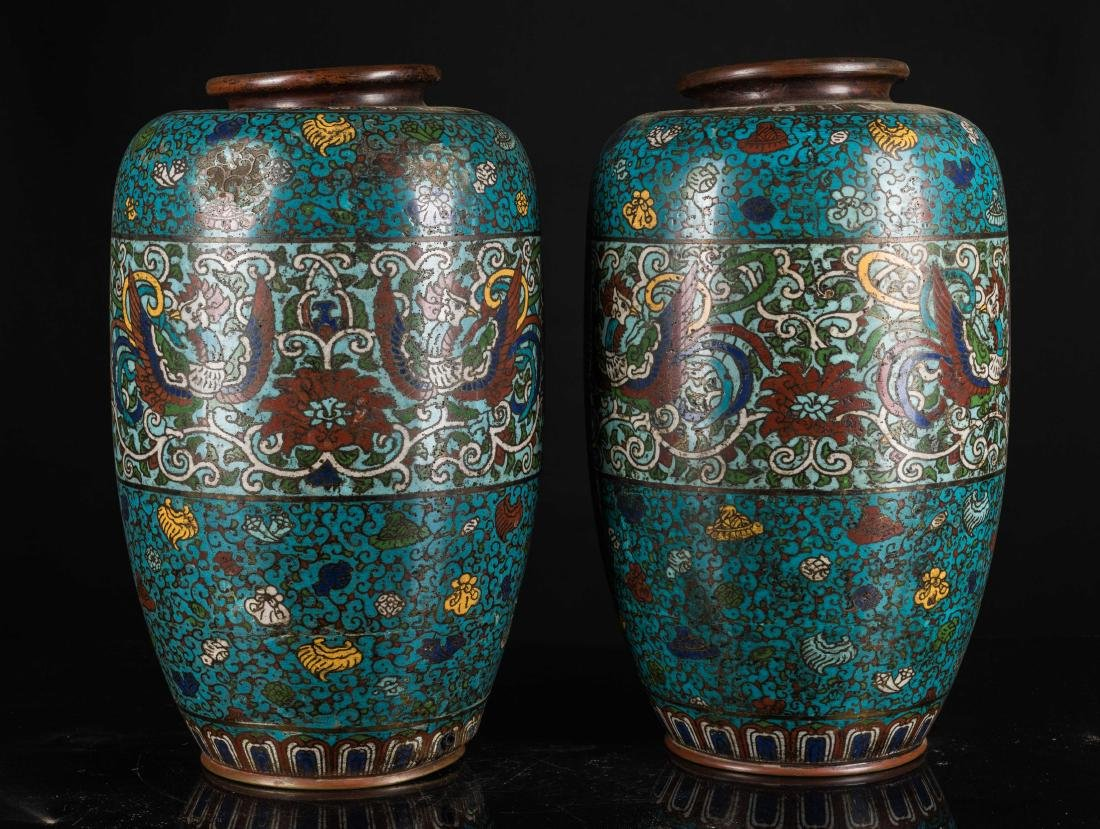 Ming Antique Pair of Cloisonne Vases - 2