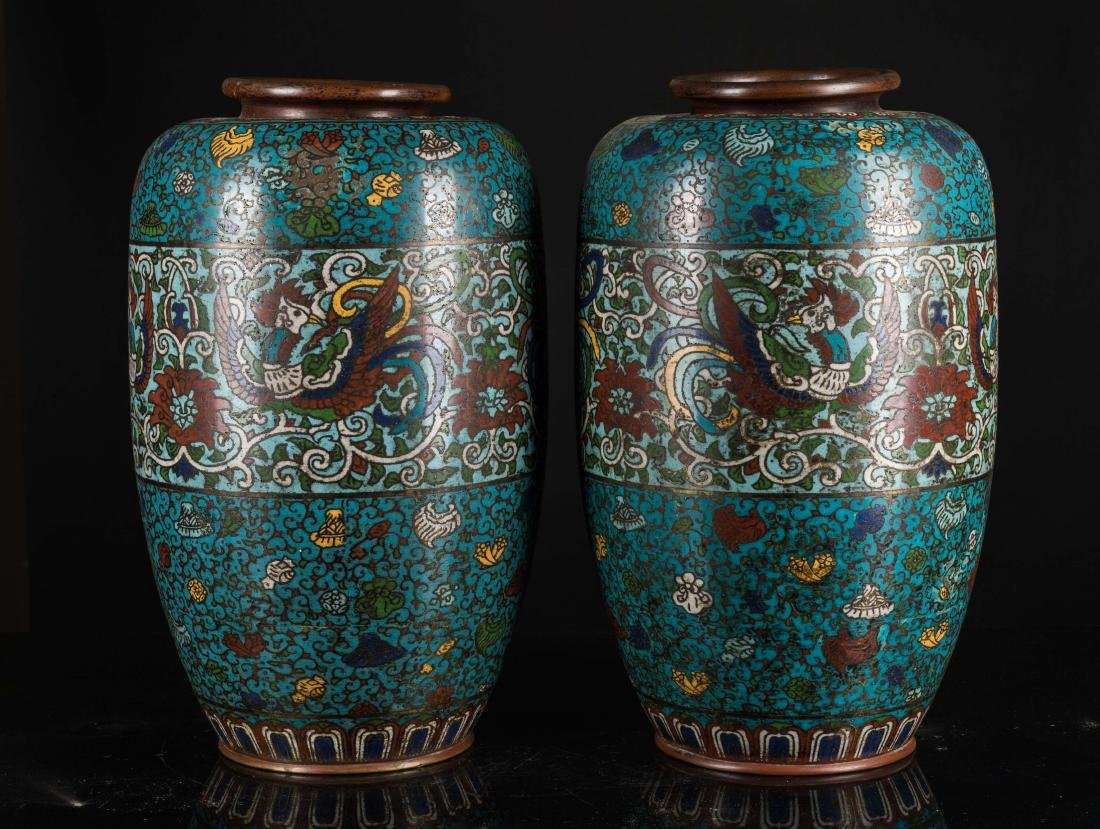 Ming Antique Pair of Cloisonne Vases - 3