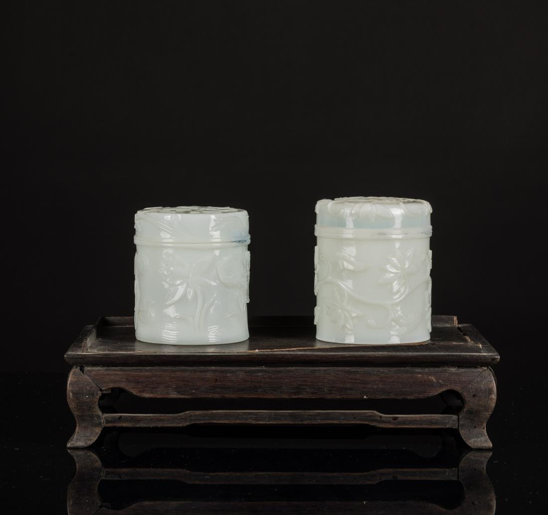 18th Antique Qianlong White Jade-Like Glass Jar with