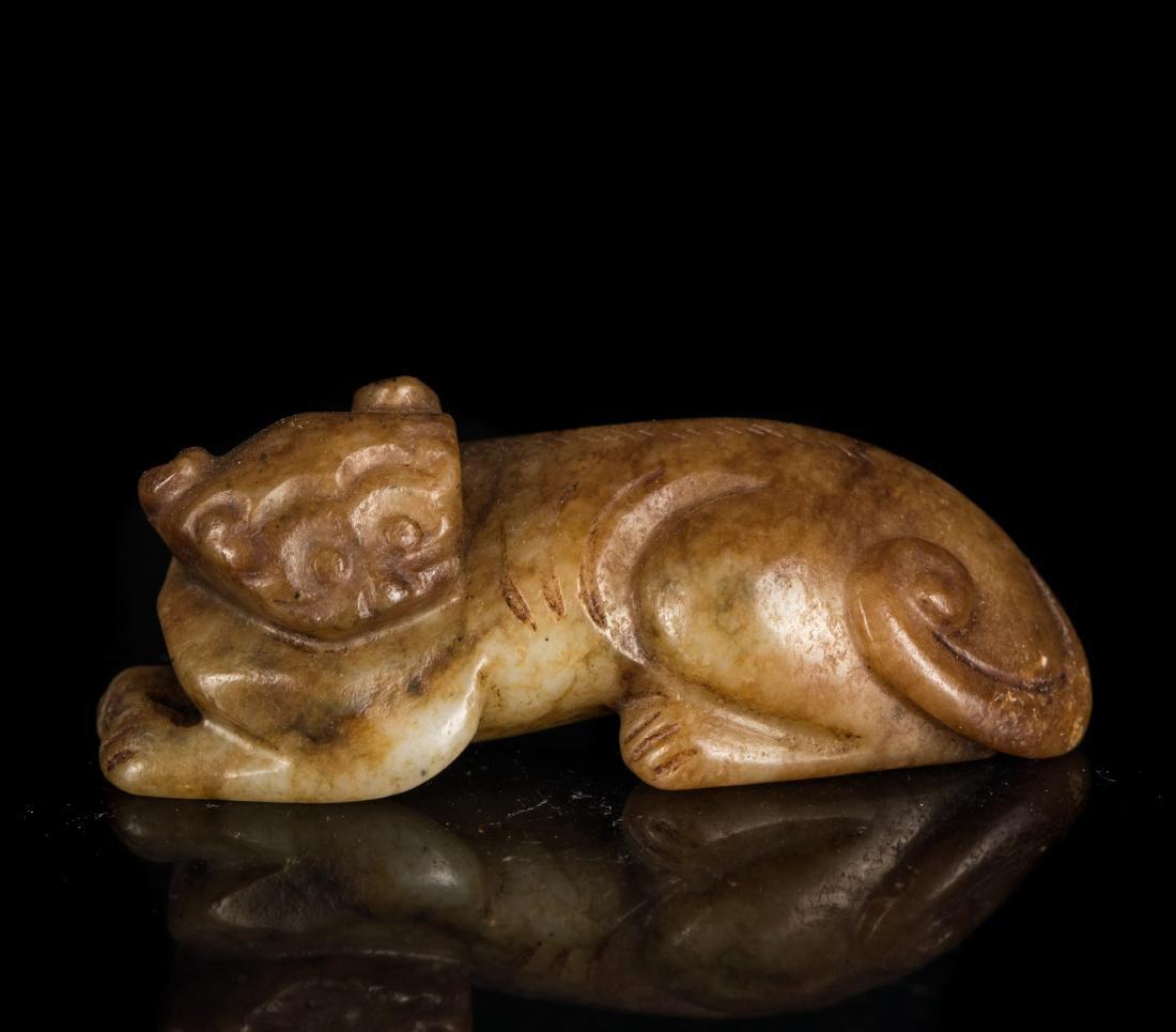 Yuan-Ming Dynasty Brown Jade Beast