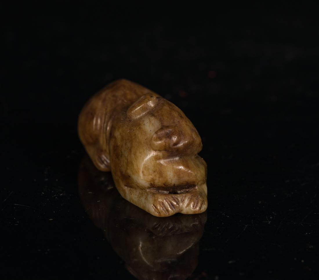 Yuan-Ming Dynasty Brown Jade Beast - 2