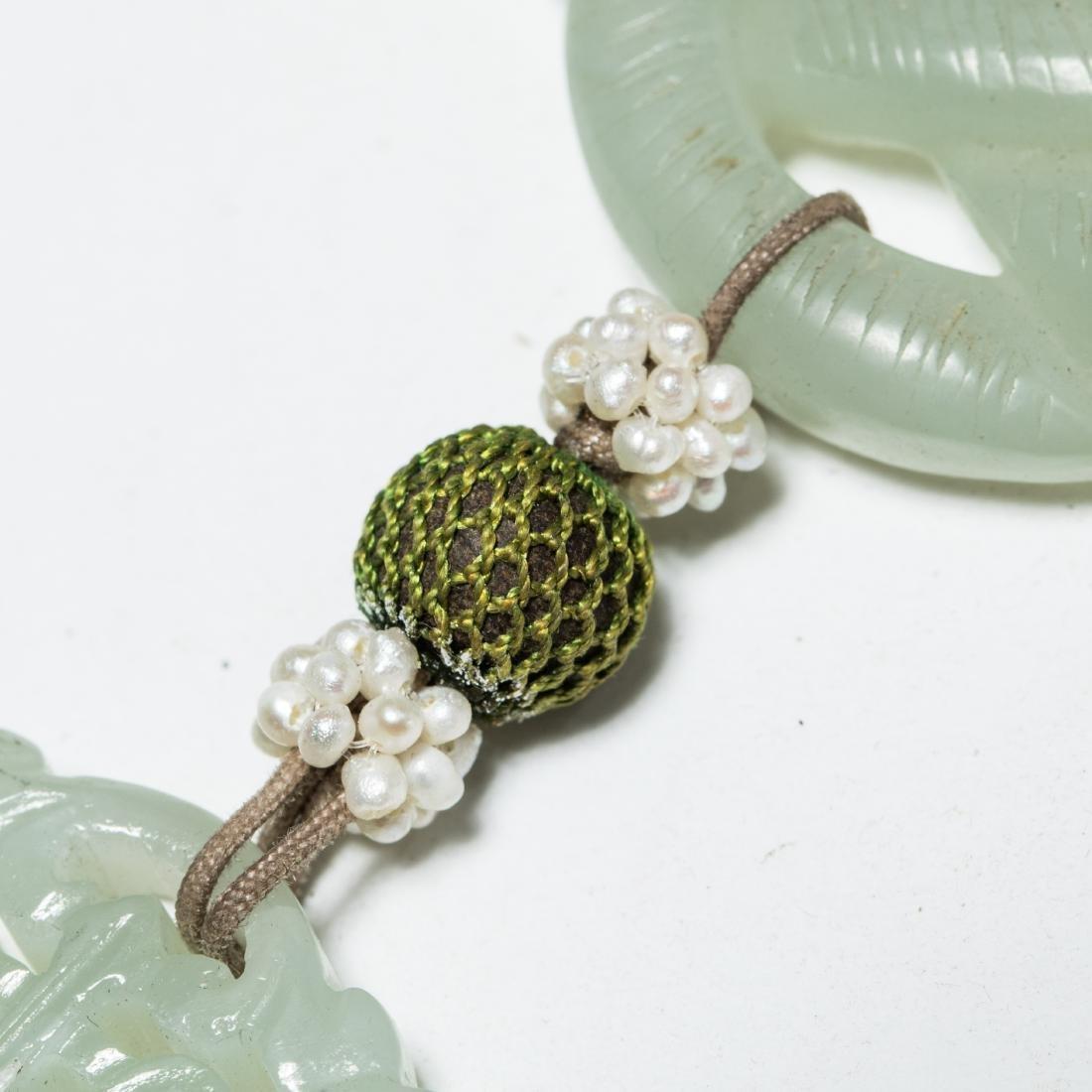 19th Manchu Style Antique Jade Pendant - 6