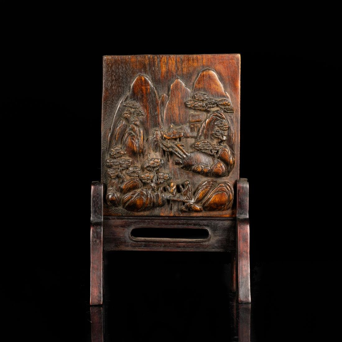 19th Antique Agarwood Carved Plaque with Rosewood Stand