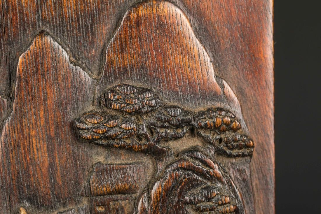 19th Antique Agarwood Carved Plaque with Rosewood Stand - 5