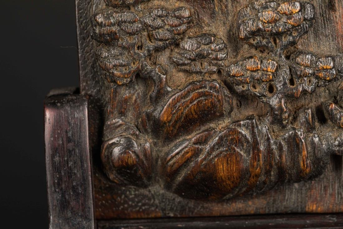 19th Antique Agarwood Carved Plaque with Rosewood Stand - 7