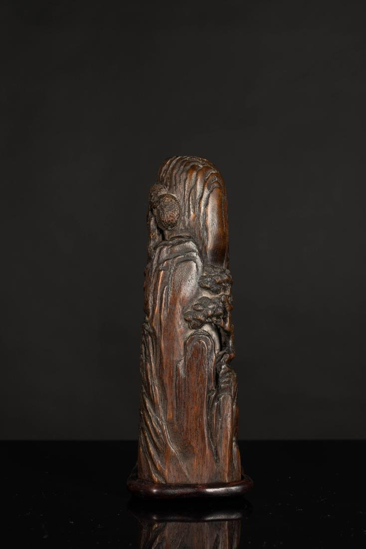 19th Antique Agarwood Carved Statue - 2