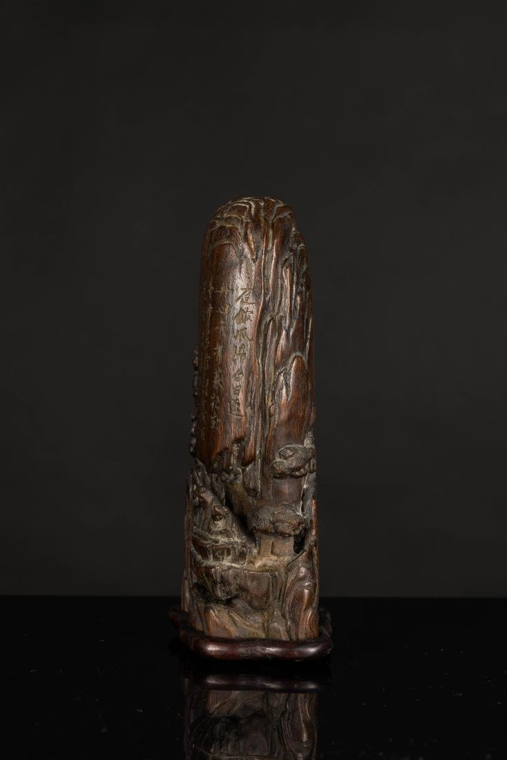 19th Antique Agarwood Carved Statue - 4