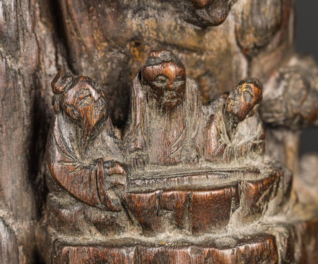 19th Antique Agarwood Carved Statue - 5