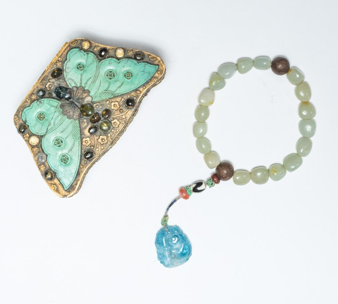 19th Antique Jade Prayer Beads With Gilt Brass Box