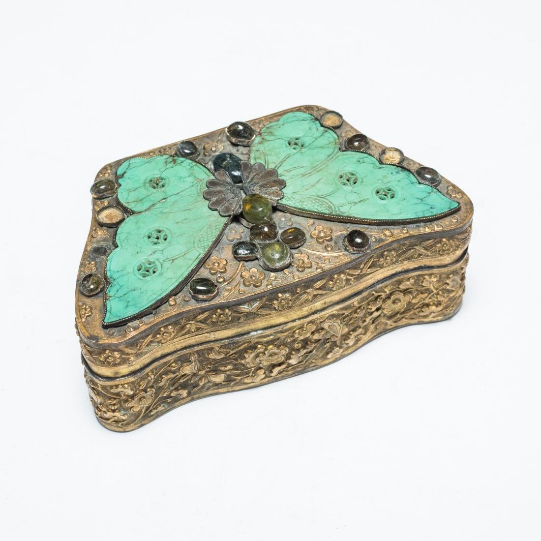 19th Antique Jade Prayer Beads With Gilt Brass Box - 8