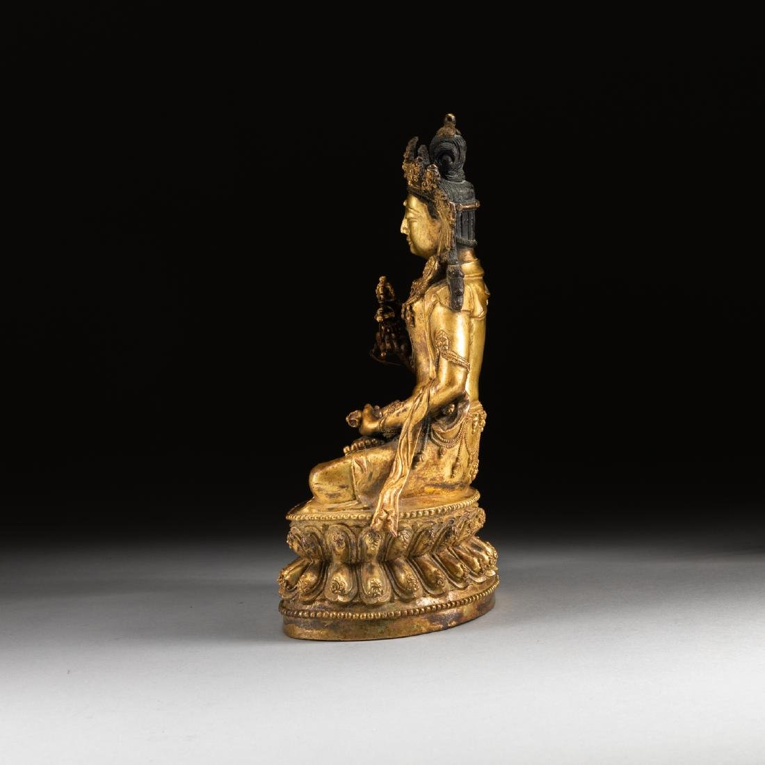 Ming Or Later Antique Gilt Bronze Buddha - 4