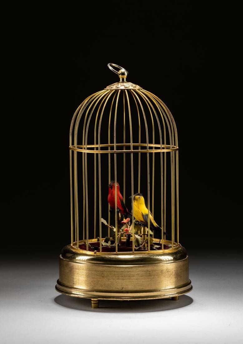 Vintage Linden Brass Birdcage Double Birds Automaton