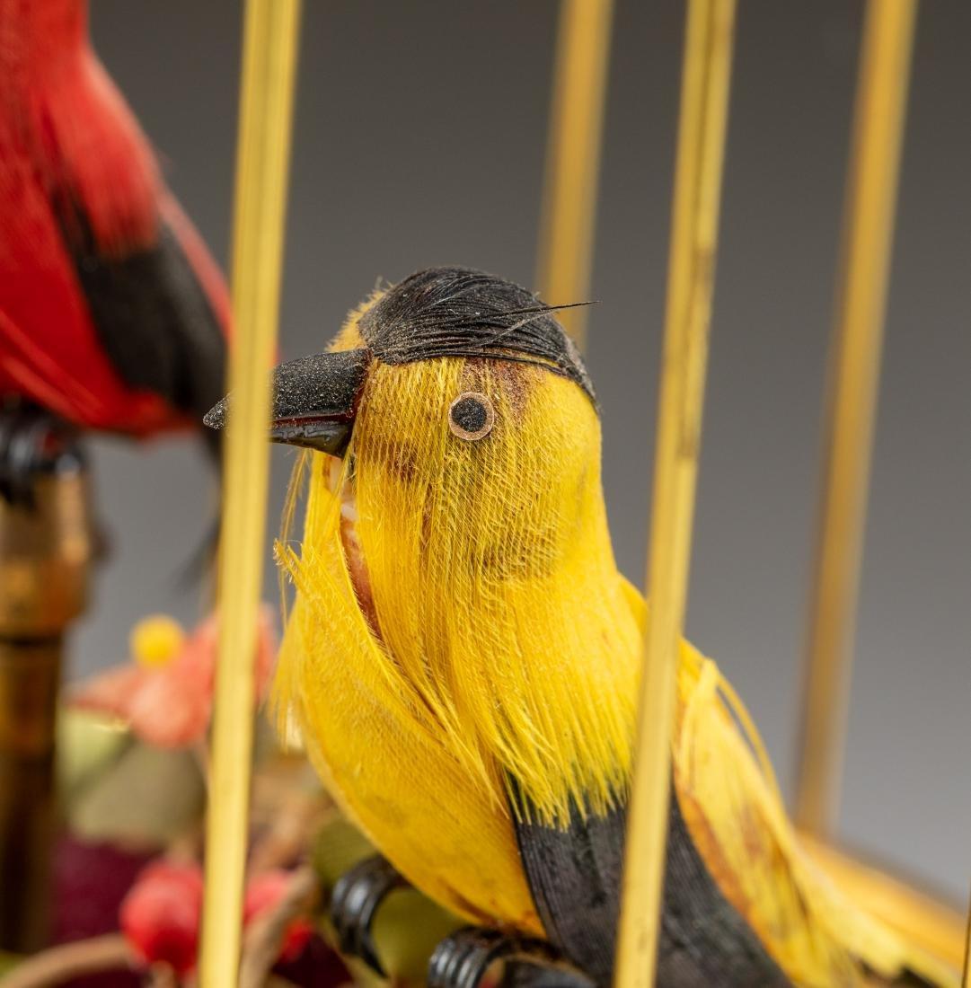 Vintage Linden Brass Birdcage Double Birds Automaton - 6