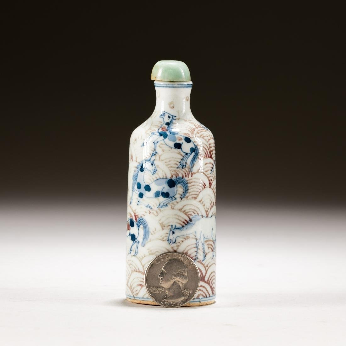 Chinese Antique Blue White And Red Snuff Bottle - 3