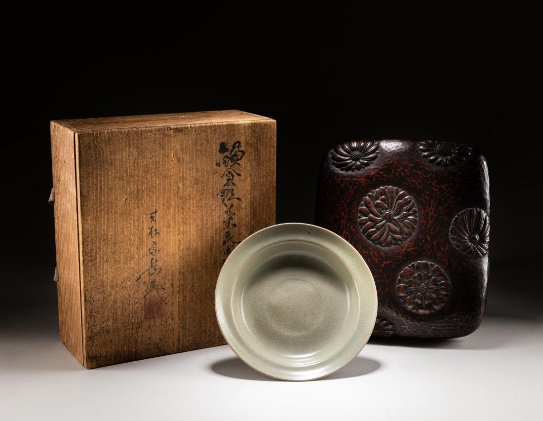 Song Chinese Ru Style Dish With Lacquer Box