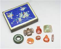 Set Of Chinese Antique Box Of Jades