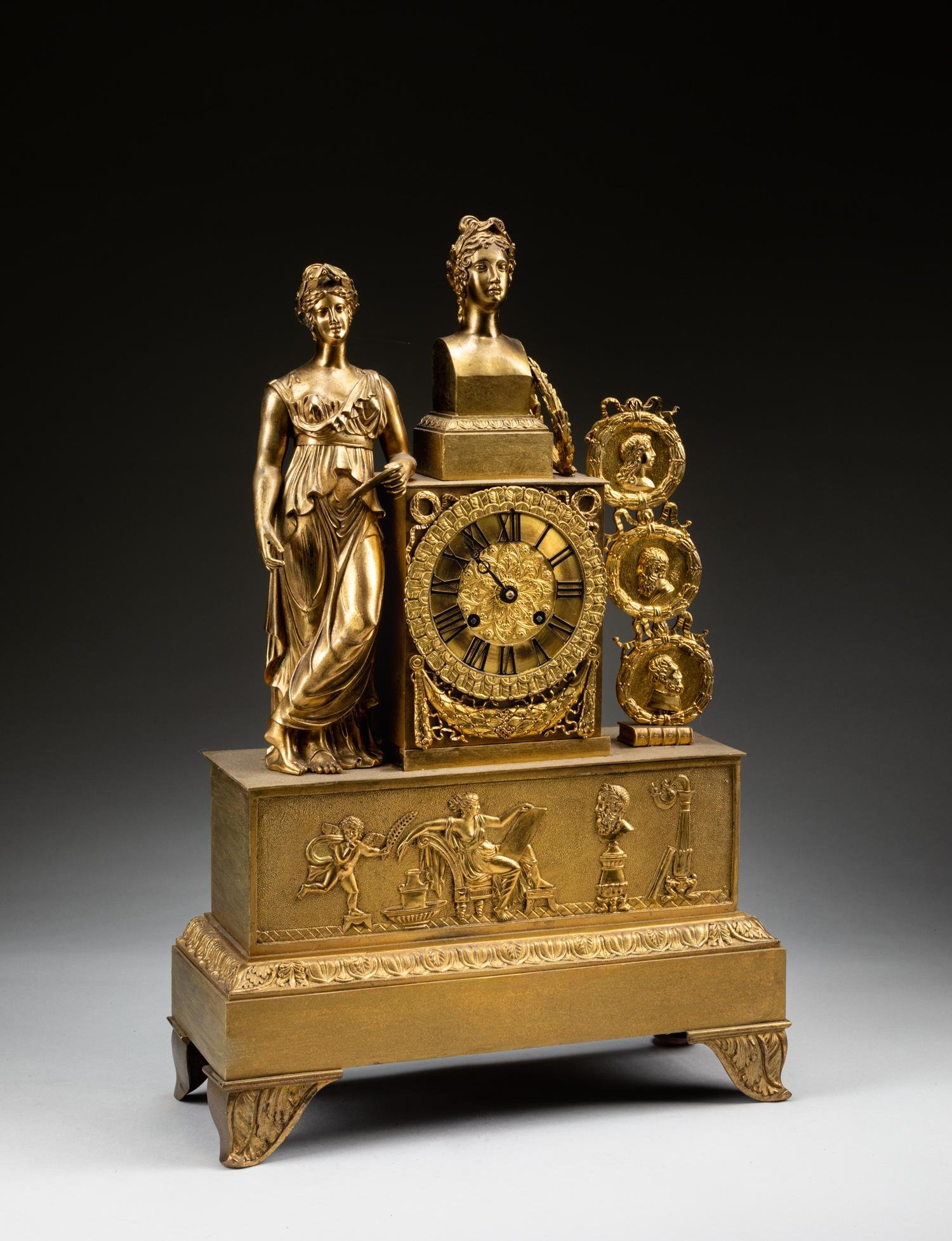 19th Antique French Gilt Bronze Clock