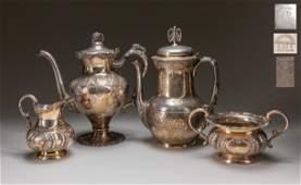 Set Of Hollowware Silver Plate Tea Set